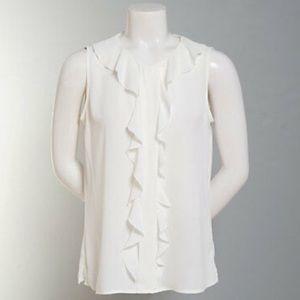 NWT Calvin Klein Sleeveless Ruffled Blouse Size L